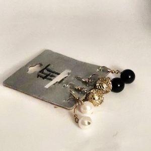 3 Pairs of Earrings: 1 white, 1 gold, & 1 black